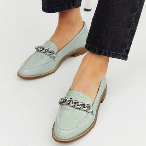 Asos Mercury Chain Loafers in Mint